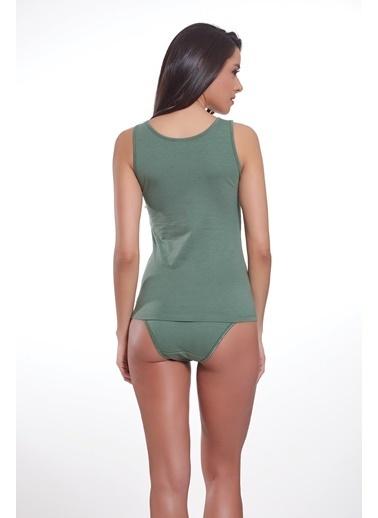 Sevim Likralı Kalın Askılı Uzun Bluz Yeşil